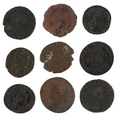 Mixed Ancient Coins Lot of 9 Figural Roman Artifacts