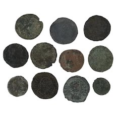 Mixed Ancient Coins Lot of 11 Roman Artifacts Figural