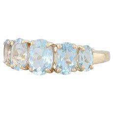 1.75ctw Aquamarine Ring 14k Yellow Gold Size 6.25 5-Stone March Birthstone