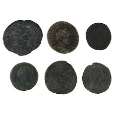 Mixed Ancient Coins Lot of 6 Figural Roman Artifacts