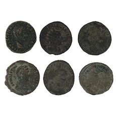 Lot of 6 Mixed Ancient Coins Figural Roman Artifacts
