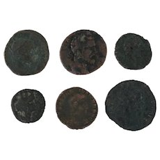 Ancient Artifacts Lot of 6 Coins Figural Roman Mixed
