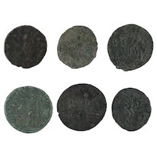 Ancient Artifacts Lot of 6 Figural Roman Coins Mixed
