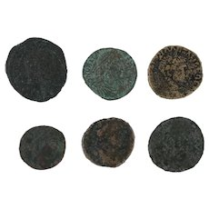 Ancient Artifacts Figural Roman Coins Mixed Lot of 6