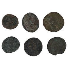 Lot of 6 Mixed Ancient Artifacts Figural Roman Coins