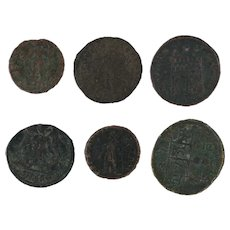 Mixed Lot of 6 Roman Coins Ancient Artifacts Figural