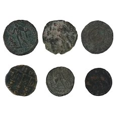 Mixed Ancient Coins Lot of 6 Roman Figural Artifacts