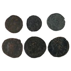 Ancient Coins Roman Artifacts Figural Mixed Lot of 6 B6250