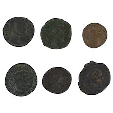 Ancient Coins Roman Artifacts Figural Mixed Lot of 6 B6312