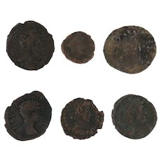 Ancient Coins Roman Artifacts Figural Mixed Lot of 6 B6341
