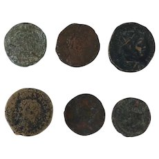 Ancient Coins Roman Artifacts Figural Mixed Lot of 6 B6344