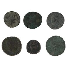 Ancient Coins Roman Artifacts Figural Mixed Lot of 6 B6346