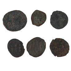 Ancient Coins Roman Artifacts Figural Mixed Lot of 6 B6352
