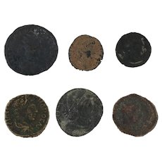 Ancient Coins Roman Artifacts Figural Mixed Lot of 6 B6353