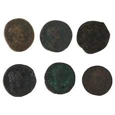 Ancient Coins Roman Artifacts Figural Mixed Lot of 6 B6360