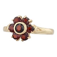 0.98ctw Garnet Flower Ring 18k Yellow Gold Size 7.25 Red Gemstone Halo