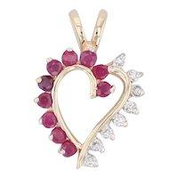 0.54ctw Red Ruby White Diamond Heart Pendant 14k Yellow Gold