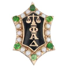 Phi Alpha Delta Badge 14k Gold Garnets Pearls Antique 1900s Law Fraternity Pin