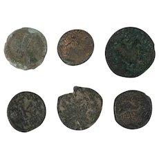 Ancient Coins Roman Artifacts Figural Mixed Lot of 6 B6436
