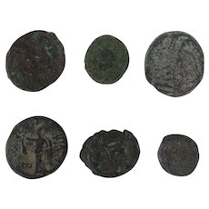 Ancient Coins Roman Artifacts Figural Mixed Lot of 6 B6437