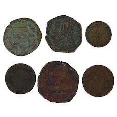 Ancient Coins Roman Artifacts Figural Mixed Lot of 6 B6535
