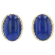 Lapis Lazuli Clip On Earrings 14k Yellow Gold Non Pierced Oval Blue Stone