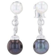 Cultured Black and White Pearl Drop Earrings 14k Gold Non Pierced Screw Back