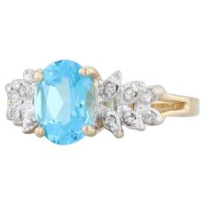 1.63ctw Blue Topaz Diamond Ring 14k Yellow Gold Size 6 Oval Solitaire