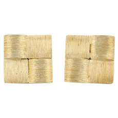Henry Dunay Checked Cuff Links 18k Yellow Gold Folding Back Men's Accessory