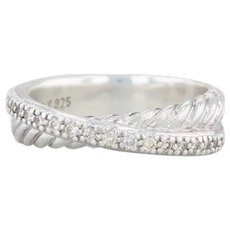 David Yurman Diamond Crossover Cable Ring Sterling Silver Size 6