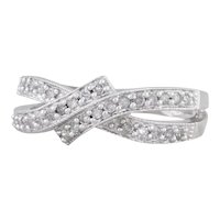 0.12ctw Diamond Bypass Ring 14k White Gold Size 5.75 Pave Overlay