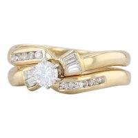 New Diamond Engagement Ring Wedding Band Bridal Set 18k Yellow Gold Size 7.25