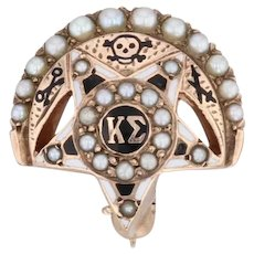 Kappa Sigma Fraternity Badge 10k Yellow Gold Pearls Greek Crescent Star Pin