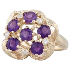 1.72ctw Amethyst Diamond Cluster Ring 14k Yellow Gold Size 6.75 Flower Cocktail