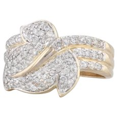 Diamond Leaf Ring 14k Yellow Gold Size 6 Cocktail Floral Cluster