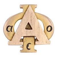 Alpha Phi Sorority Badge 10k Yellow Gold Greek Society Member Pin