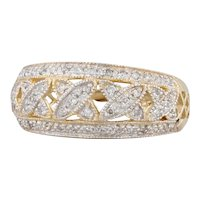 Diamond Lattice Work Ring 14k Yellow Gold Size 7.25
