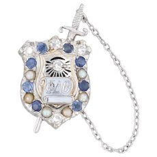Phi Delta Theta Removable Sword Shield Badge 14k Gold Sapphire Diamond Pin