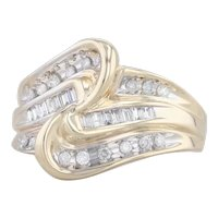 0.38ctw Diamond Bypass Cocktail Ring 10k Yellow Gold Size 7.25