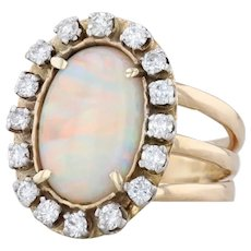 Opal Diamond Halo Ring 14k Yellow Gold Size 7.5 Cocktail October Birthstone