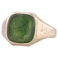 Antique Green Jade Intaglio Ring 10k Gold Size 10.5 Floral Engraved Nephrite