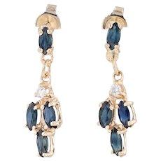 1.05ctw Blue Sapphire Diamond Dangle Earrings 14k Yellow Gold Pierced