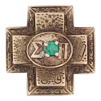 Antique Sigma Pi Cross Badge 14k Gold Emerald 1910s Fraternity Pin