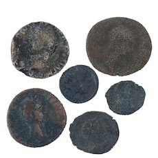 Ancient Coins Roman Artifacts Figural Mixed Lot of 6 B7198