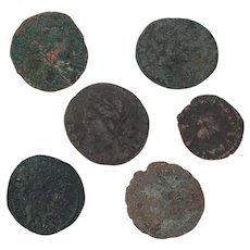 Ancient Coins Roman Artifacts Figural Mixed Lot of 6 B7200
