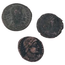 Ancient Coins Roman Artifacts Figural Mixed Lot of 3 B7259