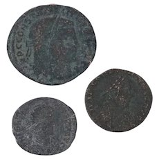 Ancient Coins Roman Artifacts Figural Mixed Lot of 3 B7262