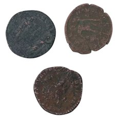 Ancient Coins Roman Artifacts Figural Mixed Lot of 3 B7264
