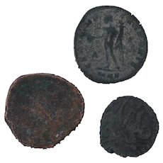 Ancient Coins Roman Artifacts Figural Mixed Lot of 3 B7275