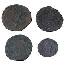 Ancient Coins Roman Artifacts Figural Mixed Lot of 4 B7276